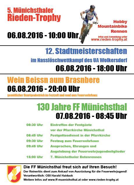 Rieden-Trophy, Stadtmeisterschaften, Wein Beissn, 130 Jahre FF Münichsthal