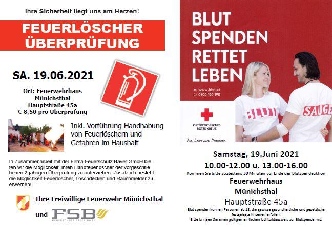 Blutspenden, Überprüfung/Vorführung Feuerlöscher