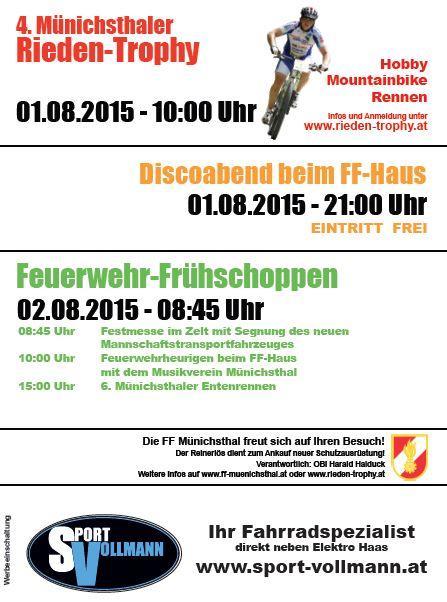 Rieden-Trophy, Discoabend, Frühschoppen